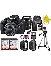 Canon EOS 2000D / Rebel T7 DSLR Camera with EF-S 18-55mm Zoom Lens + 2X SanDisk 32GB Memory Card + Tripod + Case + Wideangle Lenses + Top Knotch Bundle