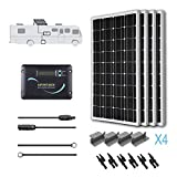Renogy 400 Watts 12 Volts Monocrystalline Solar RV Kit Off-Grid Kit with 30A PWM LCD Charge Controller + Mounting Brackets + MC4 Connectors + Solar Cables + Cable Entry housing