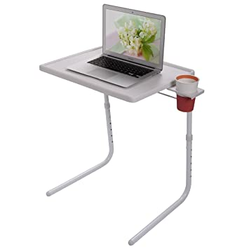 NEW SMART FOLDING TABLE AS SEEN ON TV PORTABLE ADJUSTABLE TV DINNER TRAY  CUP HOLDER HOME