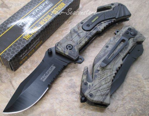 - Tac-force Assisted Opening Sawback Bowie Rescue Folder Sniper Army Black Half Stainless Steel Blade Knife - Forest Camo