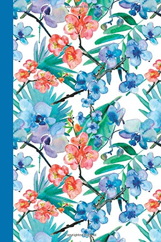 Download Sketchbook: Watercolor Flowers (Red and Blue/Blue) 6x9 - BLANK JOURNAL WITH NO LINES - Journal notebook with unlined pages for drawing and writing on blank paper (Watercolor Flowers Sketchbook Series) PDF