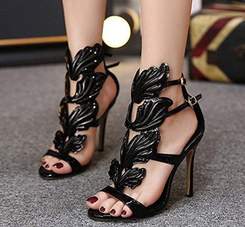 sandali sandali Nero sottili femmina Con l'ultra ali con w6qgHIz