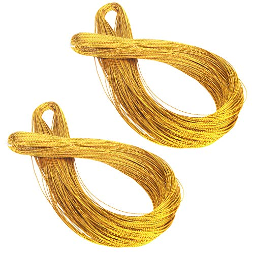 Senkary Metallic Gold Cord String Non Stretch Thread for Jewelry Craft Making, Hang Tags, 200 Meters/ 218 Yards, 1 mm -