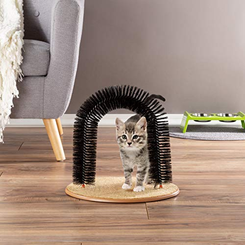 PETMAKER Self Grooming Cat Arch- Bristle Ring Brush and Carpet Base Groomer, Massager, Scratcher for Controlling…
