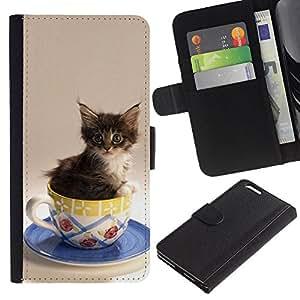 BearCase / Cuero de la tarjeta la carpeta del tirón Smartphone Slots Protección Holder /// Apple Iphone 6 PLUS 5.5 /// Gatito Gato lindo en una taza