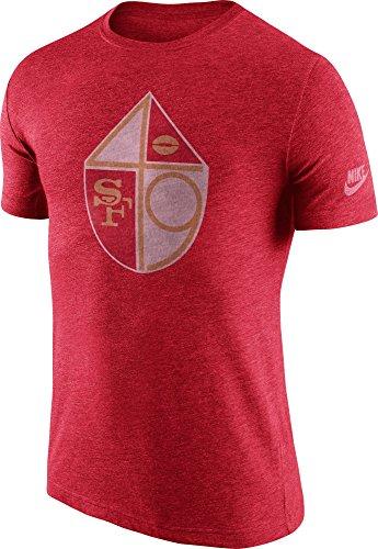 Nike Men's San Francisco 49ers Tri-Blend Historic Logo T-Shirt Medium Heather Red