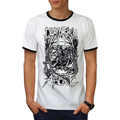 wellcoda Death Reaper Goth Mens Ringer T-Shirt, Horror Graphic Print Tee White/Black XL