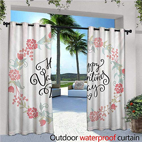 Tulip Circle - homehot Valentines Day Patio Curtains Floral Arrangements Buds Roses Tulips Circle Love Valentine Hearts Outdoor Curtain for Patio,Outdoor Patio Curtains W96 x L96 White and Black