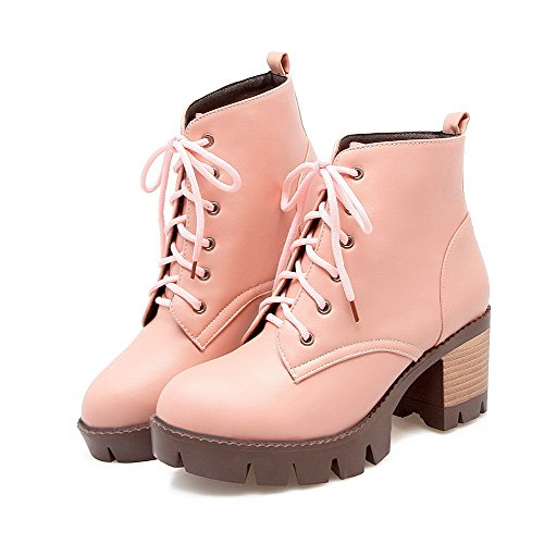 top Lace Women's Low WeiPoot up Heels Solid Boots Kitten Pink Material Soft HW6gq
