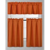 ... Solid Color Faux Silk Blackout Kitchen Window Curtain Set With Tiers  And Valance Solid Color Lined Thermal Blackout Drape Window Treatment Set ( Orange)