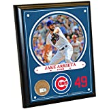 "MLB Chicago Cubs Jacob Arrieta Plaque with Game Used Dirt from Wrigley Field, 8"" x 10"", Navy"