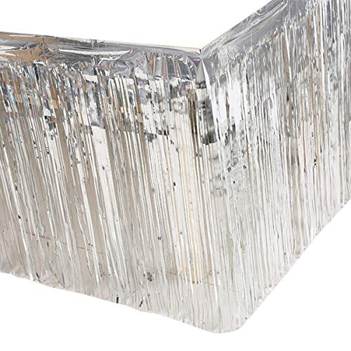 2 pack Metallic Metallic Foil Fringe Table Skirt(2pack, silver) -