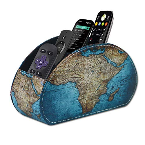 QIELIZI Remote Control Holder, PU Leather Remote Caddy Desktop Organizer with 5 Spacious Compartments for TV Remotes…