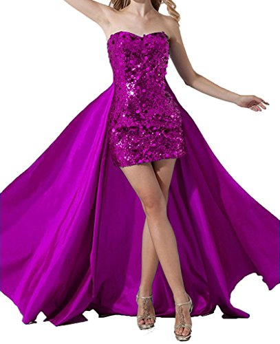 Prom Party Fuchsia Cocktail Dress ASBridal Skirt Detachable with Women's Sequin Short wq1SW7ap