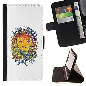 - Majestic Lion Painting - - Prima caja de la PU billetera de cuero con ranuras para tarjetas, efectivo desmontable correa para l Funny HouseFOR Sony Xperia Z2 D6502