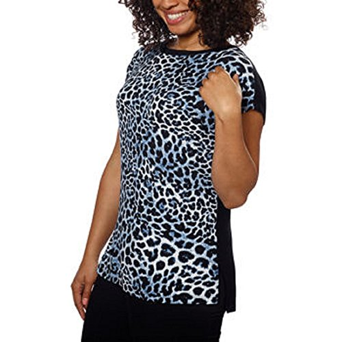 Ellen Tracy Ladies' Short Sleeve Top-Blue Leopard, Large