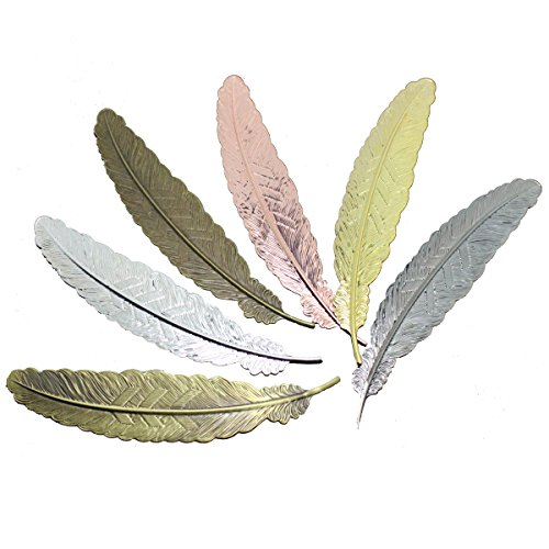 6pcs Feather Metal Bookmarks