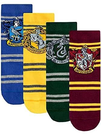 Harry Potter Calcetines Paquete de 4 para Niños Hogwarts Multicolor 16/19