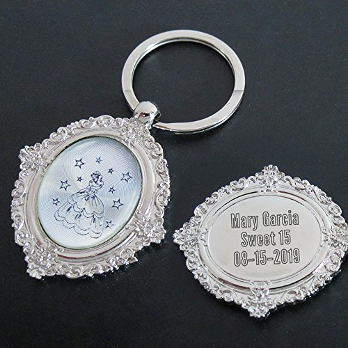 Sweet 16 Keychain Favors - Personalized quince Keychain Party Favor (12 PCS) Engraved Sweet 16 Metal Key Ring/Customized 15 Birthday Gift for Guest/Quince Party Favor