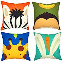 YOUR SMILE Cute Animal Cotton Linen Decorative Throw Pillow Case Cushion Cover Pillowcase for Sofa 18 x 18 Inch , Set of 4