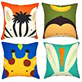 YOUR SMILE Cute Animal Cotton Linen Decorative Throw Pillow Case Cushion Cover Pillowcase for Sofa 18 x 18 Inch, Set of 4