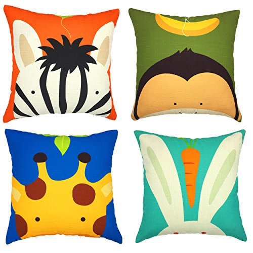 YOUR SMILE Children Series Cotton Cute Animal Throw Pillow Cover Set of 4