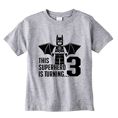 NanyCrafts Children's Superhero Bati-Lego Birthday Boy PERSONALIZED Kids Shirts 7/8Y - H7y