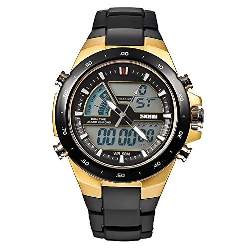 Carrie Hughes Men's Digital Watch 50M Waterproof Large Dual Dial Multifunction Analog Military Outdoor Sports Electronic Watch Calendar Day Date CH032 ()