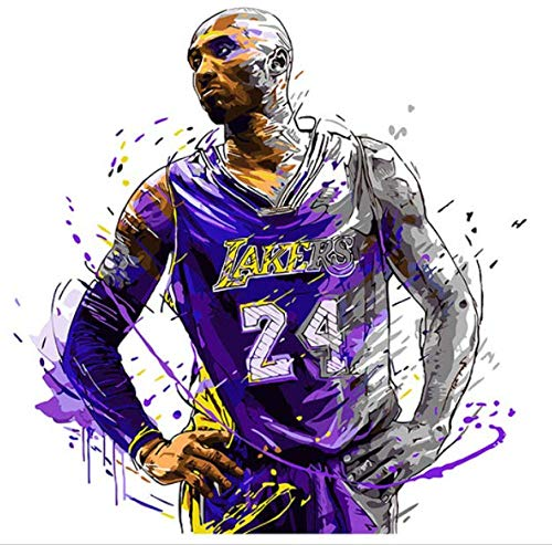 kkxka No Frame Painting by Numbers Art Paint by Number DIY Digital Painting, Decorations, Kobe Bryant, Basketball Player, Guard. NBA Los Angele ()