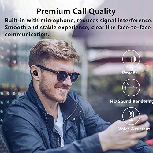 Amazon.com: True Wireless Headphones, Bluetooth 5.0 Mini Stereo Headset with Microphone Hands Free In Ear Sport Sweatproof Earphones with Charging Box/Case ...