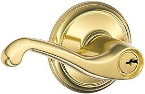 Schlage F51A FLA 505 Flair Lever Keyed Entry Lock, Bright Brass