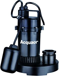 Acquaer 1/3 HP Thermoplastic Submersible Sump Pump, U.S. Float Switch 2850GPH@5Ft CSA&UL certified