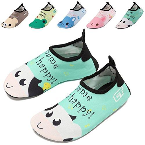 Kids Water Shoes,GFtime Baby Toddler Swim Shoe Quick Dry Skin Barefoot Aqua Socks for Beach Hiking Sport Cow 8.5 9.5 inch