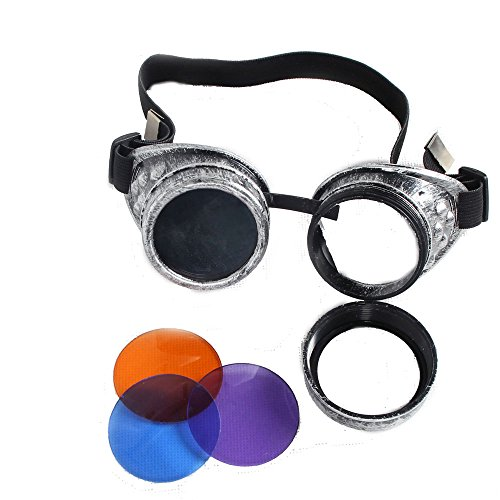 100% ABS Costume Props Cosplay Vintage Steampunk Goggles Glasses Welding Cyber Punk Gothic (Old Silver Frame) by FUT (Image #3)