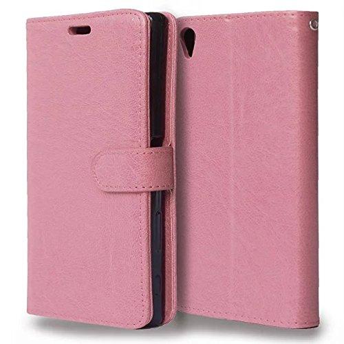 Wkae Case Cover Sintético de alta calidad caja de cuero de la carpeta del color sólido de la cubierta del soporte de silicona para Sony Xperia Z5 Plus ( Color : Black , Size : Sony Xperia Z5 Plus ) Pink