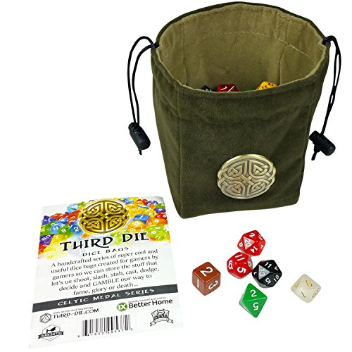 Third Die Dice Bag - Handcrafted, Reversible Drawstring Bag That Stands Open On The Table And Closes Tight - Soft Microfiber With Cool Celtic Knot Medallion - Deep Green and Moss Green (Reversible Drawstring Bag)