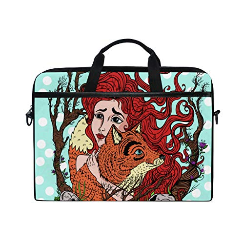 TARTINY 15-15.4 Inch Laptop Bag Vector Clip Art Girl Fox Shoulder Messenger Bags Sleeve Case Tablet Briefcase with Handle ()