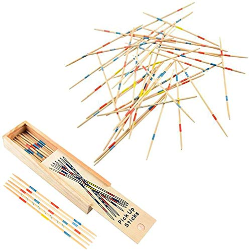 Kicko Wooden Pick-up Sticks Game - 12 Pack with Game Instructions - Loads of Fun -