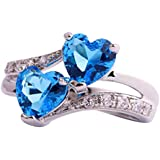 Emsione 925 Sterling Silver Plated Created Heart Blue&White Topaz Womens Ring