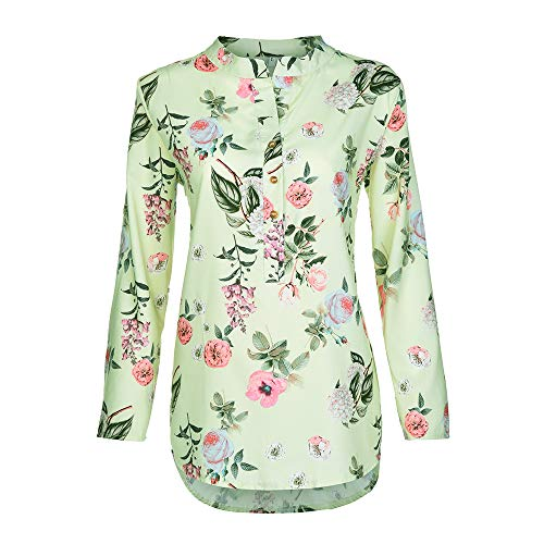 Price comparison product image Shirts for Womens,  Clearance! Pervobs Women Plus Size Casual Loose Floral Print Long Sleeves Button Shirts Tops Blouse(22,  Yellow)