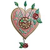 Allen Designs ''Love Blooms'' Whimsical Heart Pendulum Wall Clock