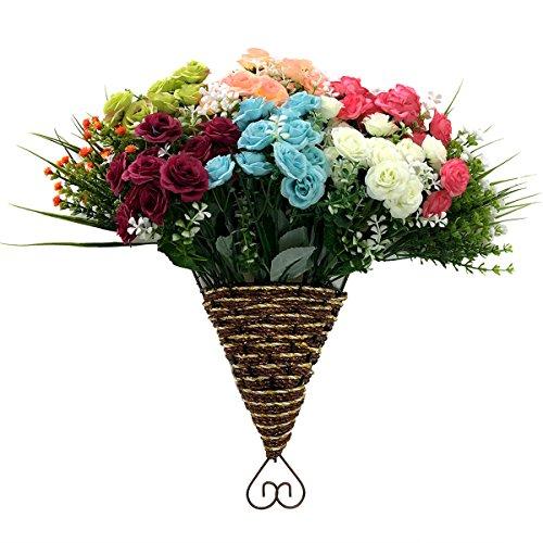 Artificial Flowers, 8 Bundles Fake Flower Bouquet with Vase Lifelike Natural Flower Arrangements for Home Garden Party Wedding Office Decoration (8 Pack Heart Shape Vase)