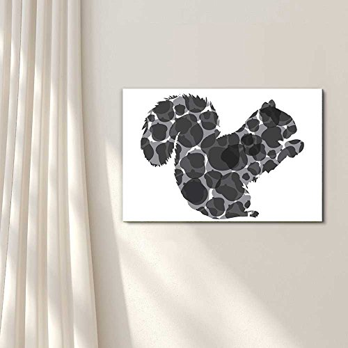 Foraging Squirrel and Acorn Silhouette Black and White Exclusive Artwork Quirky Fun Design