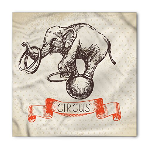 Lunarable Vintage Bandana, Circus Elephant Dancing, Unisex Head and Neck Tie