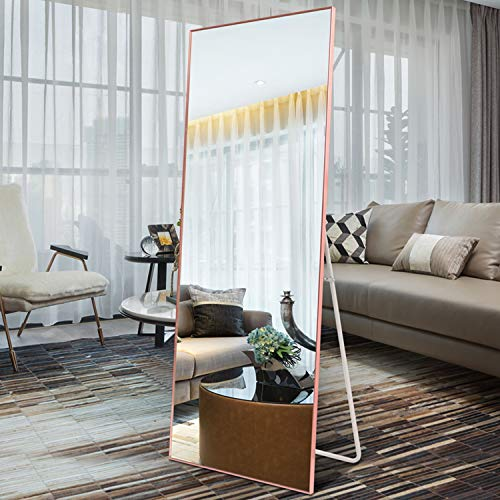 Hans&Alice Full Length Floor Mirror Bedroom, Dressing Mirror Full Body Standing or Wall-Mounted Rose Gold 65x22