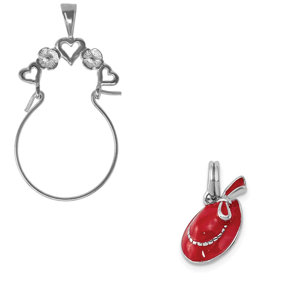 Mireval Sterling Silver Anti-Tarnish Treated Red Hat Charm on an Optional Charm Holder