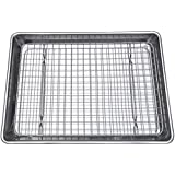 Checkered Chef Quarter Sheet Pan and Rack Set 24 x 33cm (9.5 x 13 inches). Aluminium Cookie Sheet / Baking Sheet Pan with Stainless Steel Oven Safe Cooling Rack. Bonus Silicone Baking Mat Included.