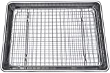 11 x 11 baking pan - Checkered Chef Quarter Sheet Pan and Rack Set 9.5 x 13 inches. Aluminum Cookie Sheet / Baking Sheet Pan with Stainless Steel Oven Safe Cooling Rack. Bonus Silicone Baking Mat Included.