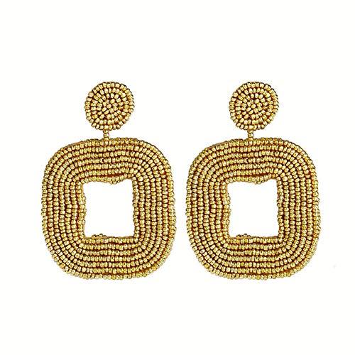 (Bohemian Statement Beaded Drop Earrings Handmade Beaded Square Hoop Dangle Earrings Fashion Jewelry for Women Girls (Gold))