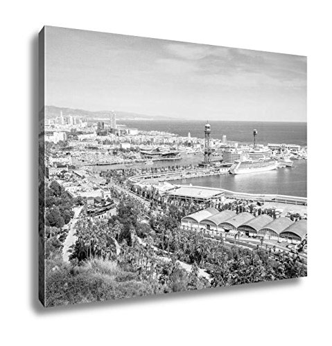Ashley Canvas Barcelona Viewed From Castle Hill Spain, Wall Art Home Decor, Ready to Hang, Black/White, 16x20, AG6375493 by Ashley Canvas
